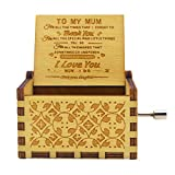 Micteney Daughter To Mum Music Box, Play The Tune You are My Sunshine Unique Gifts for Mom Vintage Engraving Wooden Music Box