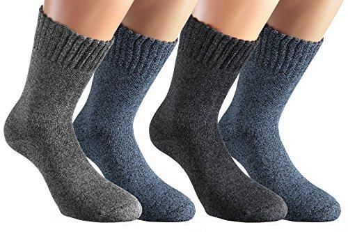 Vitasox 33350 Herren Socken Baumwollsocken Arbeitssocken mit Innenfrottee super soft extra breiter B& ohne Gummi 4 Paar 43/46