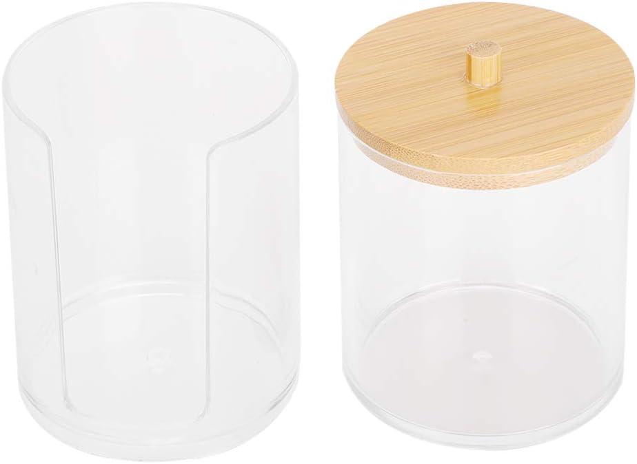 Jenngaoo Bo/îte cosm/étique Transparente 2 en 1,pour r/écipient Transparent en Coton-Tige en /éponge cosm/étique avec Couvercle en Bambou 2 in 1