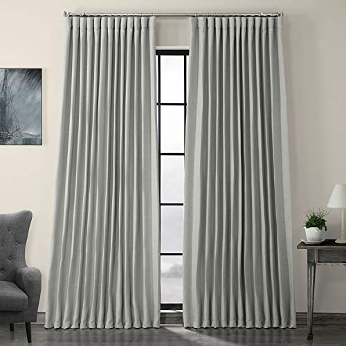HPD Half Price Drapes BOCH-LN1859-84-DW Faux Linen Extra Wide Blackout Room Darkening Curtain (1 Panel), 100 X 84, Heather Grey
