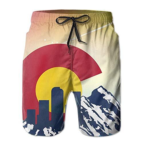 Generic Colorado Flag Männer/Jungen Casual Schnelltrocknende Badeanzüge Elastische Taille Strandhose Mit Taschen,XXL