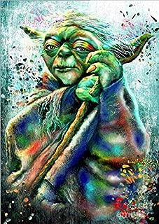 Star Wars Full Drill Diamond Painting 5D DIY Diamond Embroidery Cross Stitch Crystal Rhinestone Art Craft Movie Pictures Mosaic Painting Home Wall Decoration,Master Yoda B (40X50CM)