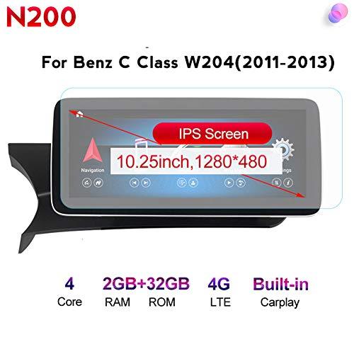 Android Radio Car Stereo Built-In Wireless Carplay 10.25/12.5 Pulgadas GPS Navegación para Benz C-Class W204 2011 to 2014 Coche Audio FM/Am/RDS Radio Video Player Bluetooth SWC 4G WiFi,N200