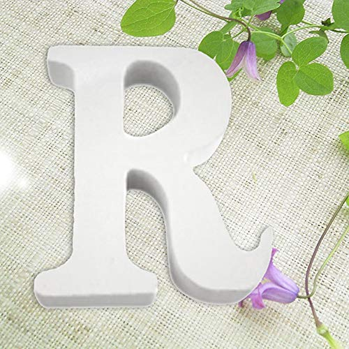 Madera Letras de Madera Alfabeto Blanco Boda Fiesta de cumpleaños Decoraciones para el hogar R, Decoración del hogar, para el día de Pascua (R)