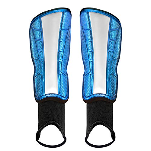 "GeekSport Soccer Shin Guards Youth Upgraded 3 Best Sizes Soccer Gear for Boys Girls Toddlers Kids with Hard Protective Shell & Ankle Sleeves (M 4'6''~5'7"" Tall, Blue)"