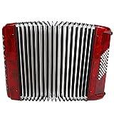 Acordeón, 26 teclas Acordeón de piano de 48 bajos, Acordeón vintage, Acordeonista principiante adulto Acordeón Instrumental musical con correa de fuelle de piel de oveja + Bolsa(rojo)