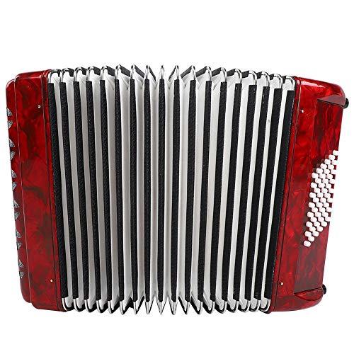 Accordéon, 26 touches 48 Accordéon pour piano à main basse, accordéon Vintage, Accordéoniste débutant pour adulte(rouge)
