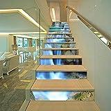 BLOUR PVC Tapete Wasserfall Grafiken, einfache 13 Stück DIY Treppenaufkleber, Stufenaufkleber, Wandaufkleber - 2