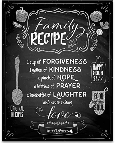 Family Recipe - Forgiveness Laughter Love - 11x14 Unframed Typography Art Print - Great Kitchen Decor Under 15 Printed on Photo Paper