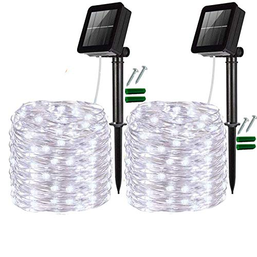 FANSIR Solar String Lights, Upgraded 2 Pack 200 LED Solar Fairy Lights 8 Modes Silver Wire Garden Lights Waterproof Outdoor String Lights for Party, Yard, Wedding, Bedroom Decor(Cool White)