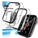 LK 2 Pack Tempered Glass Case Compatible with Apple Watch Series 6/5/4/SE 44mm Screen Protector, All-around Bumper Protective, Hard PC Protector Cover Smartwatch Accessories - Clear
