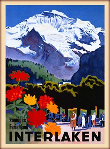 A SLICE IN TIME Interlaken Sonniges Ferienland Bern Switzerland Swiss Alps Vintage Travel Advertisement Art Wall Decor Poster Print. 10 x 13.5 inches