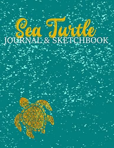 Sea Turtle Journal & Sketchbook: Teal Aqua Splash Gold Sea Turtle Mandala Pattern Design Cover