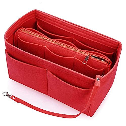 Organizador de Bolsa Bolso Organizadores Insertar para Bolsas de Mano y Bolsos Totes de Dama y Mujer de Viaje, Fieltro Cosmético del Bolsillo Inserción Separador Women's Handbag Organizers(Rojo)