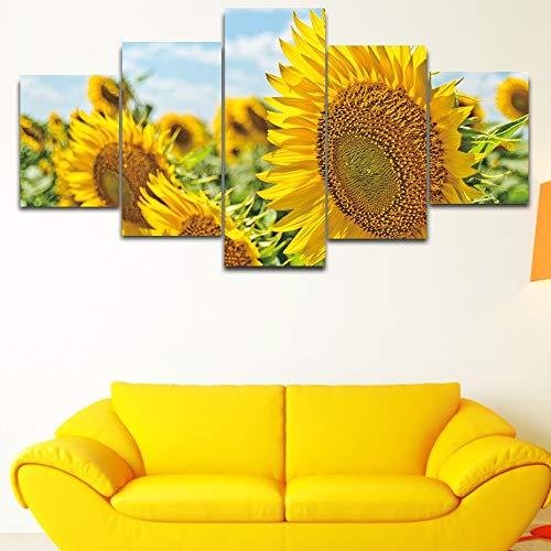 PEJHQY Sonnenblumen Seelandschaft 5 Stück HD Print Leinwand Poster Nordische Wandkunst Malerei Modulares Bild Wandbild Schlafzimmer Kunst Dekor,leinwanddruck gemälde