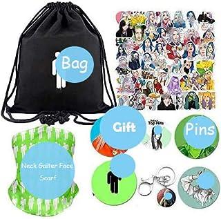 Rapper Singer Gift Set For Fans-1 Pack Drawstring Bag Backpack,50 Pcs Laptop Stickers,4 Button Pins,Neck Gaiter Face Scarf,1 Keychain,1 Phone Holder
