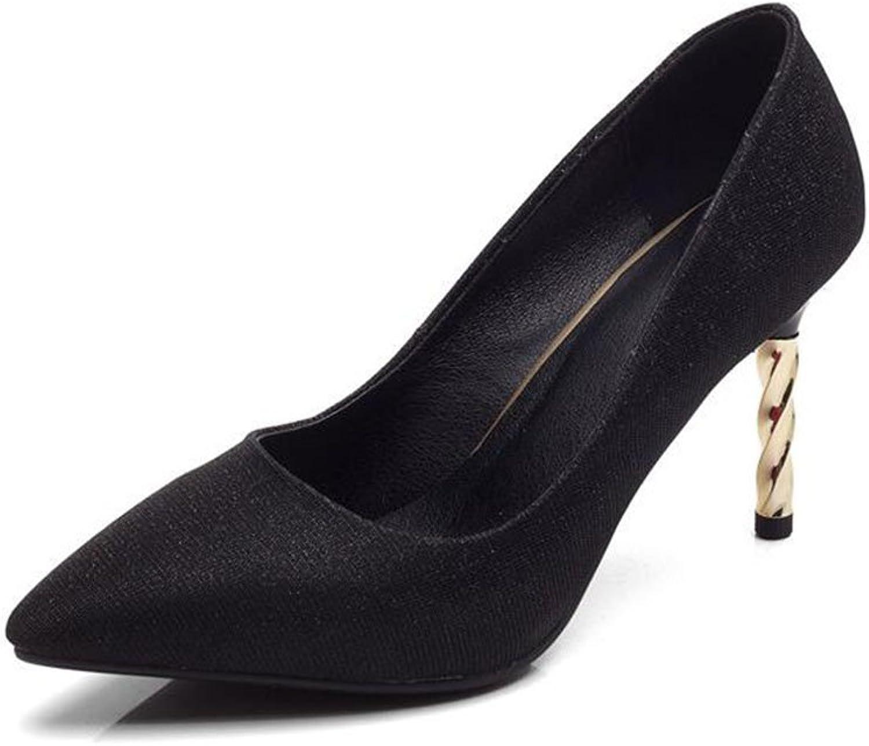 XUERUI High Heels Fashion Pointed Court High Heel for Women Slip On Dress shoes (color   Black, Size   EU36 UK3.5 CN35)
