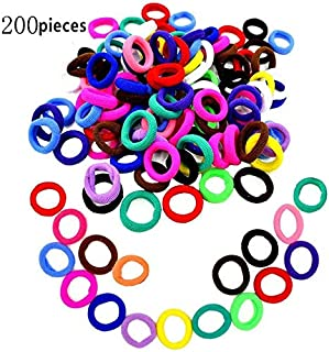 Hair Bands Ties,200pcs Colorful Elastic Rubber Bands Not hurt hair & No Crease Ponytail Holders,Tiny Soft Hair Ties for Toddler Baby Kids (Multi-Colored)