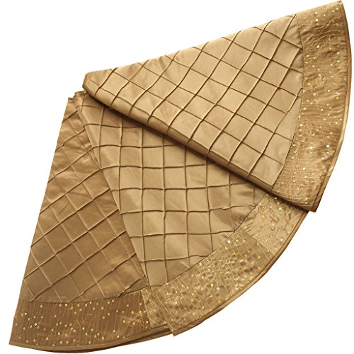 SORRENTO 50inch Handcraft Pintuck Faux Silk with Sparkle Glitter Border Christmas Tree Skirt in Gold Color P4501