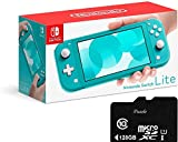 "Newest Nintendo Switch Lite - 5.5"" Touchscreen LCD Display, Built-in Plus Control Pad, iPuzzle 128GB SD Card, Built-in Speakers, 3.5mm Audio Jack, 802.11 a/b/g/n/ac, Bluetooth 4.1, 0.6lbs - Turquoise"