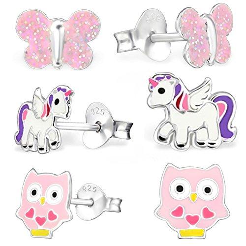 GH* Kids 3 pares de pendientes Pegaso unicornio + búho + mariposa de plata de ley 925 para niñas