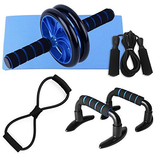 Lixada 5 PCS Home Gym Fitness Set—Rueda de Rodillos—Abdominales 8 Forma Resistencia Banda—Jump Rope—Push up Bars—Cojín