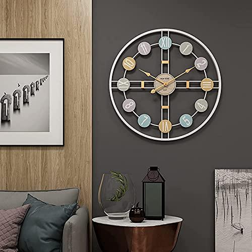 Reloj de pared grande, sala de estar silencioso, sin tictac, relojes decorativos...