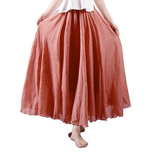 OCHENTA Women's Light Bohemian Flowy Full Circle Long Maxi Skirt Rust Red 85CM