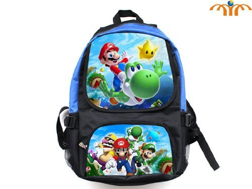Super Mario (Mario Flying Yoshi) and (Mario Luigi Wario) Full Size School Backpack 17'