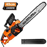 TACKLIFE Chainsaw, 2400W Electric Chainsaw, 45 cm Chain, Straight Motor, Excellent Balance, 15m/s