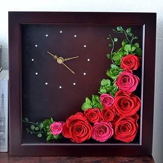 【Eclaire Flower Design】プリザーブドフラワー フラワー時計L ブラウン
