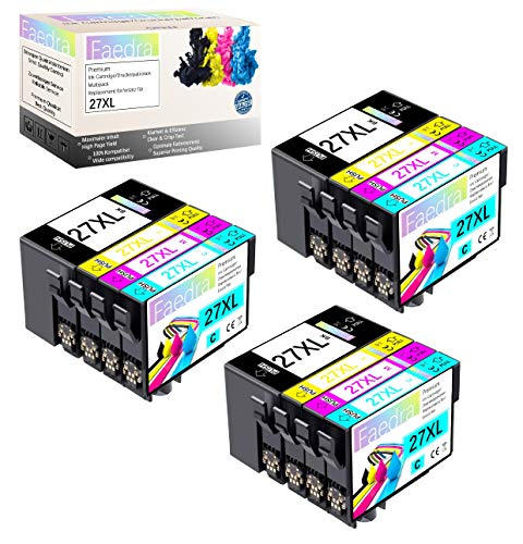 Faedra Druckerpatronen Ersatz für Epson 27XL 27 XL T2711 T2712 T2713 T2714 für Epson Workforce WF-3620 WF-7720 WF-3640 WF-7715 WF-7710 WF-7620 WF-7610 WF-7210 WF-7110 3*BK 3*C 3*M 3*Y