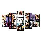 TXCY 5 Leinwandbilder 5 Panel GTA 5 Spiel Leinwand