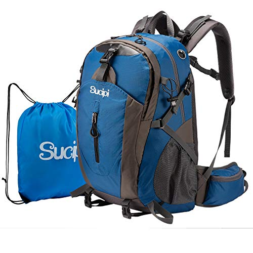 Hiking Backpack Sucipi Waterproof Lightweight Hiking Bag 40L Large Capacity Hiking Daypack Travel Backpack for men women Blue