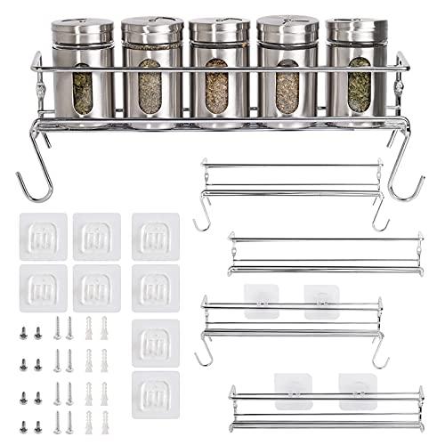 Especiero de Cocina Autoadhesivo – Estanterías metálicas para Especias con Cuatro estantes – Práctico Organizador de Especias de Color Plateado