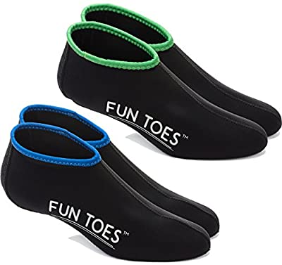 FUN TOES Neoprene Socks for Water Sports for Women & Men - 2 Pairs of Snorkel Fin Socks for Scuba Diving, Snorkeling, Paddling, Boarding, Jetskiing & More 2.5MM (Black, XL Men 11-12.5)