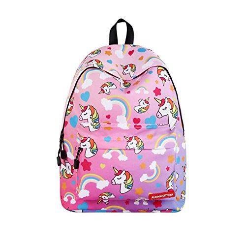 Blanketswarm Kids Unicorn zaino, unisex moda zaino leggero grande capacità viaggio campeggio borse casual Daypacks College Schoolbag per adolescenti studenti rosa rosa 40 * 17 * 30 cm