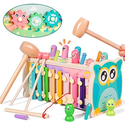 rolimateGiocattoli martellanti per criceti, xilofono educativo precoce Montessori Giocattolo di Legno Giocattolo Pesca Magnete Gioco, miglior Regalo di Compleanno per 3 4 5+ Anni Ragazzi Ragazze
