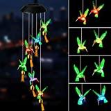 MuZi famlily Solar Hummingbird Wind Chimes for Outside, Automatic Color-Changing Hanging Wind Chimes for Outdoor Garden,Yard,Patio,Porch, Backyard, Decor, Gifts for Mom and Grandma (Green)
