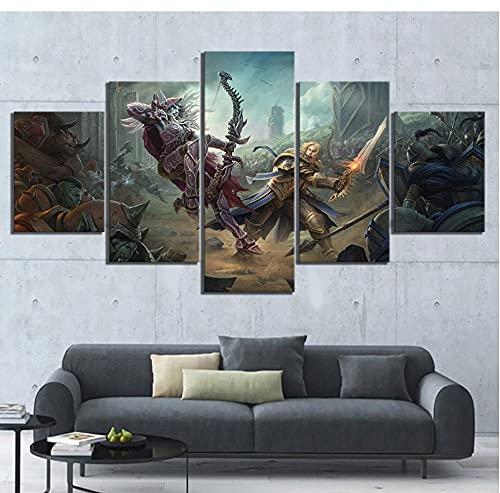 5 piezas con marco de World of Warcraft Battle Azeroth Sylvanas Windrunner Anduin Wrynn póster del juego pinturas de arte de pared decoración del hogar 150x80cm