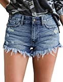 luvamia Women's Mid Rise Shorts Frayed Raw Hem Ripped Denim Jean Shorts Blue Color, Size S