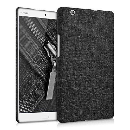 kwmobile Hardcase Hülle kompatibel mit Huawei MediaPad M3 8.4 - Stoff Cover Hülle Stoff Dunkelgrau