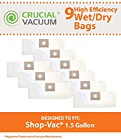 9 Replacements for Shop-Vac Type A Bags Fit 1.5 Gallon Wet & Dry Vacs Compatible With Part # SV-9066700 by Think Crucial 【Creative Arts】 [並行輸入品]