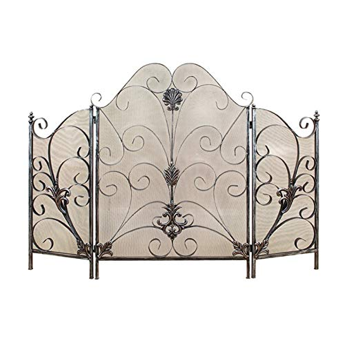 HIZLJJ 3-Panel 48x32in Solid Wrought Iron See-Through Metal Fireplace Screen,Spark Guard Safety Protector w/Decorative Scroll
