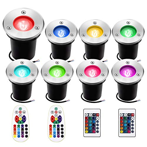 RGB Low Voltage Landscape Lights, Sunriver 8Pack 3W Color-Changing LED Well Lights 16 Colors and 4 Changing Modes with 4pcs Remote Controls, IP67 Waterproof Landscape Lighting for Yard Garden Party