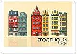 Imán clásico para nevera con diseño de Old Town of Stockholm, Suecia
