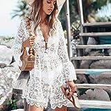 NC 2021 Verano Blusa de Bikini para Mujer Encaje Floral Blusa de Traje de Baño de Ganchillo Hueco UPS Traje de Baño Ropa de Playa Bata Falda de Playa Caliente