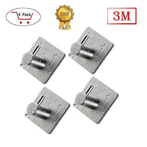 Towel Hook,Robe Towel Hooks For Bathrooms with 3M Self Adhesive SUS 304 Stainless Steel Brushed Nickel For Kitchen Organizer(4 Pack)