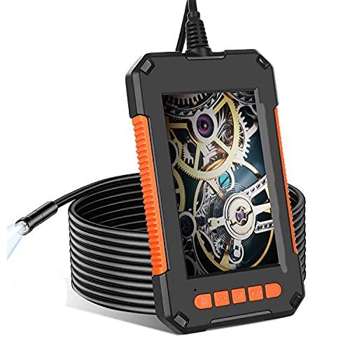 Endoscopio Industriale, 1080P HD Sonda Telecamera con Schermo LCD da 4,3 Pollici, Boroscopio IP67 Impermeabile con 8 luci a LED, Batteria da 2600 mAh, Cavo Semirigido (5 M)