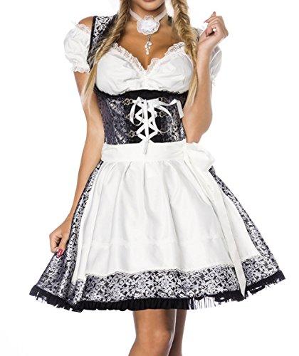 Dirndl Kleid Kostüm mit Bluse und Schürze aus Jacquard Stoff und Spitze Spitzenstoff Oktoberfest Dirndl silber/weiß/schwarz XS Oberteil dunkel